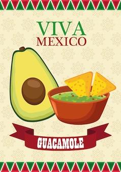 Letras de viva méxico e pôster de comida mexicana com abacate e guacamole.