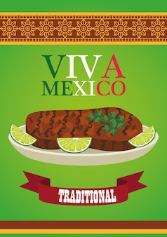 Letras de viva méxico e pôster de comida mexicana com bife e limão.
