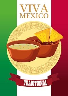 Letras de viva méxico e pôster de comida mexicana com nachos em molhos.