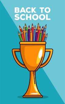 Letras de volta às aulas com lápis de cor no copo de troféu