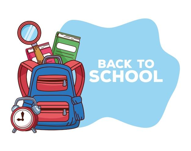 Letras de volta às aulas com mochila e acessórios