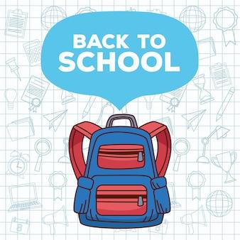 Letras de volta às aulas com mochila e conjunto de acessórios