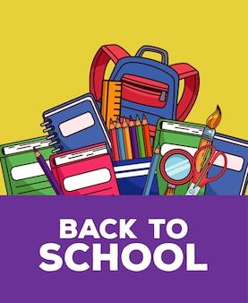Letras de volta às aulas com mochila e material definido