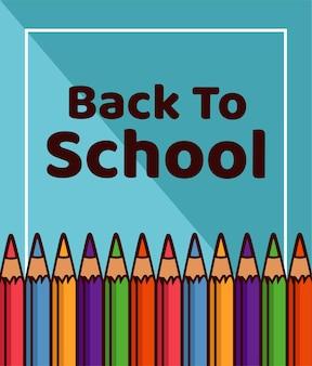 Letras de volta às aulas com suprimentos de cores do arco-íris