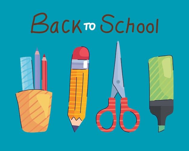 Letras de volta às aulas e ilustração de suprimentos