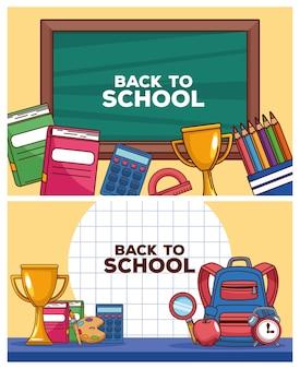 Letras de volta às aulas no quadro-negro com acessórios