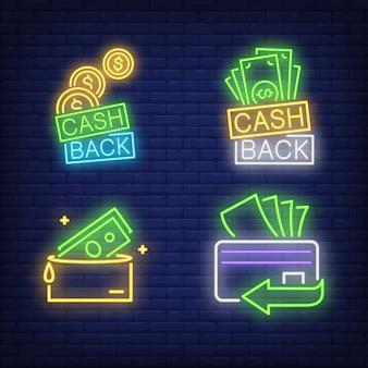 Letras de volta em dinheiro, cartão de plástico, conjunto de sinais de néon de carteira