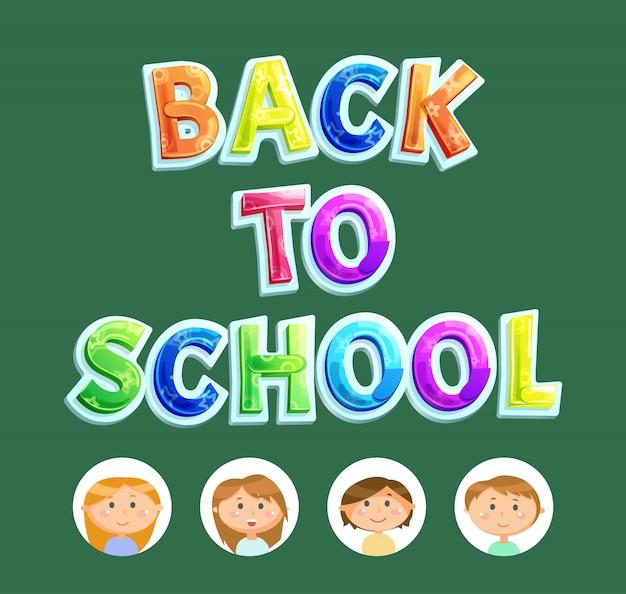 Letras de volume de volta à escola, vetor de crianças