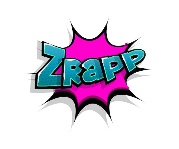 Letras de zrap wow. balão de fala do logotipo em quadrinhos
