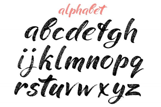 Letras desenhadas à mão caligráfica. alfabeto escrito à mão.