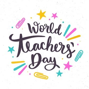 Letras desenhadas à mão para o dia dos professores