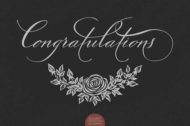 Letras desenhadas à mão, parabéns