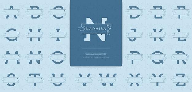 Letras divididas com ursinhos de pelúcia são adequadas para o logotipo de nomes de bebês