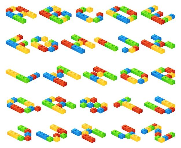Letras do alfabeto 3d isométricas feitas de cubos de plástico
