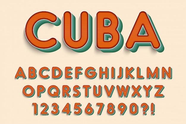Letras do alfabeto 3d moderno, números e símbolos. tipografia retrô. vetor
