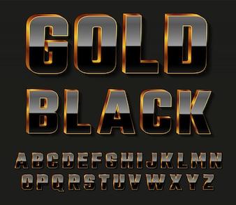 Letras do alfabeto 3D pretas douradas