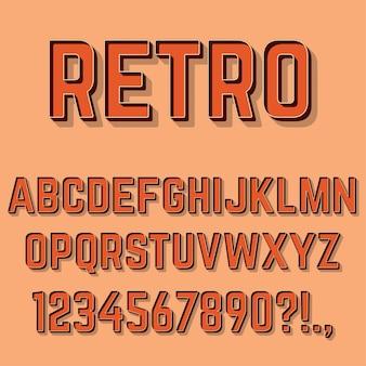 Letras do alfabeto 3d retrô, números e símbolos.