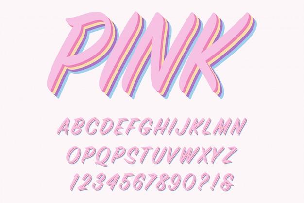 Letras do alfabeto 3d rosa moderno, números e símbolos.