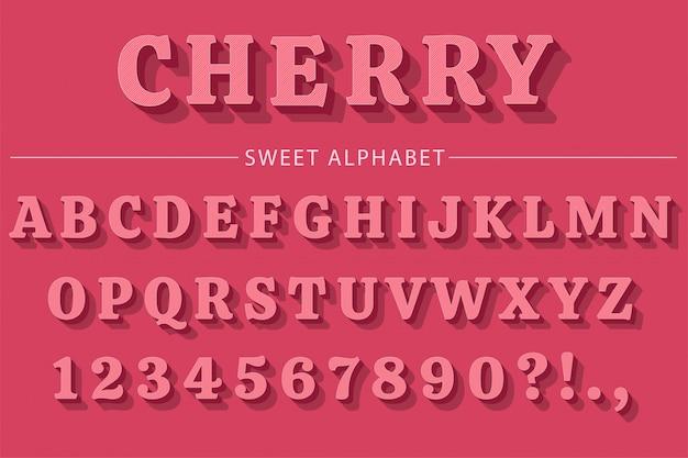 Letras do alfabeto 3d rosa, números e símbolos.