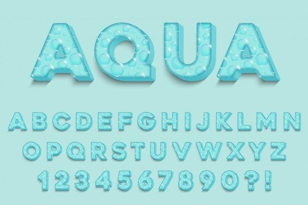 Letras do alfabeto aqua 3d modernas