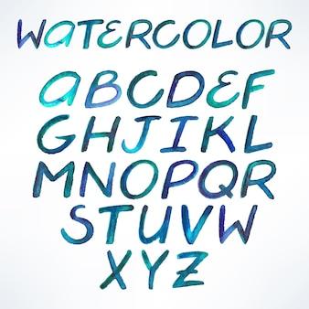 Letras do alfabeto azul manuscritas em aquarela