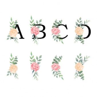 Letras do alfabeto com decorações de rosas e folhas em estilo aquarela