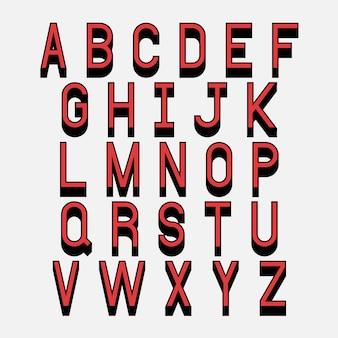Letras do alfabeto com efeito 3d isométrico