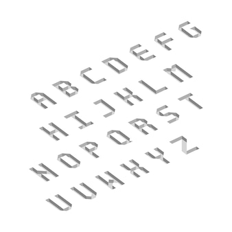 Letras do alfabeto com efeito isométrico 3d. ilustração vetorial.