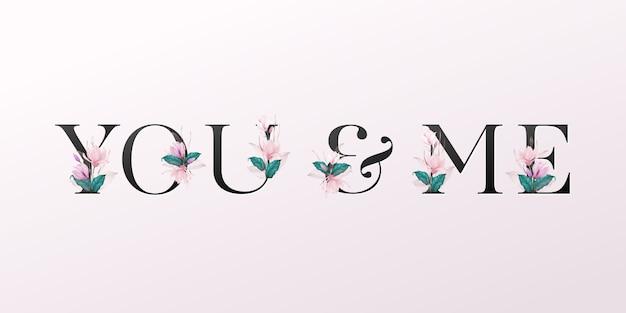 Letras do alfabeto com flores em aquarela sobre fundo rosa suave
