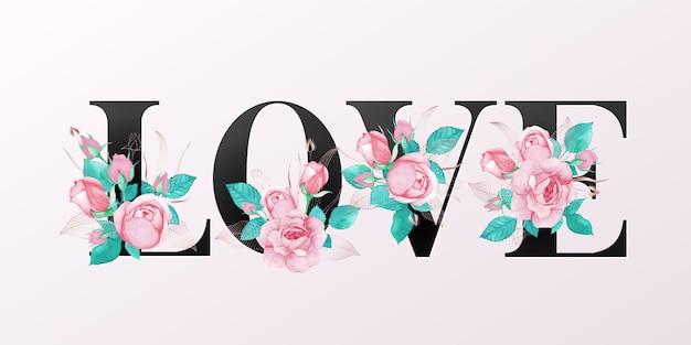 Letras do alfabeto com flores em aquarela