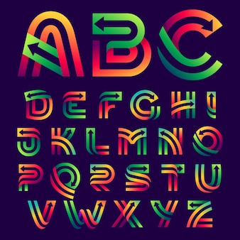 Letras do alfabeto com setas dentro. tipo de letra de cores vivas de vetor para etiquetas de entrega, manchetes de negócios, cartazes de finanças, cartões de esporte etc.