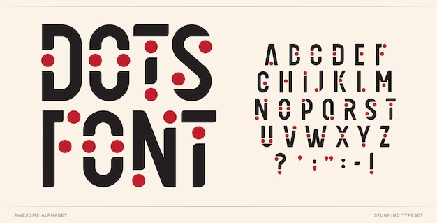 Letras do alfabeto da arte da fonte de pontos - letras do logotipo criativo com pontos tipográficos futuristas da moda