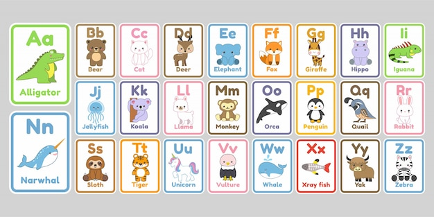 Letras do alfabeto de animais fofos kawaii para crianças