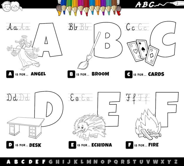 Letras do alfabeto de desenhos animados educacionais definidas de a a f para a página do livro de colorir