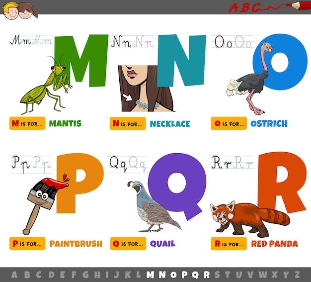 Letras do alfabeto de desenhos animados educacionais para crianças de m a r