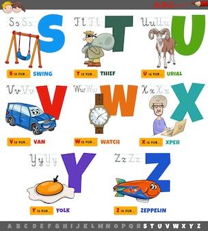 Letras do alfabeto de desenhos animados educacionais para crianças definidas de s a z