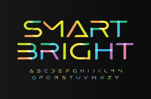 Letras do alfabeto de fontes brilhantes multicoloridas para crianças digitam para crianças com logotipo festivo digital.