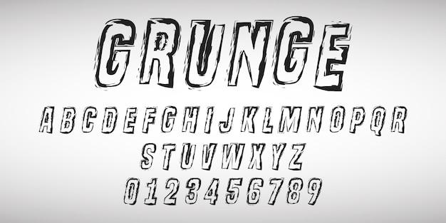 Letras do alfabeto e números de design grunge