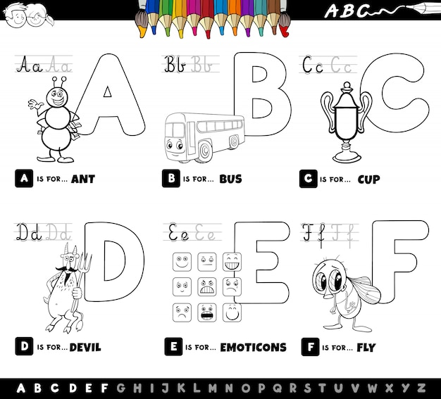 Letras do alfabeto educacional cor livro para crianças