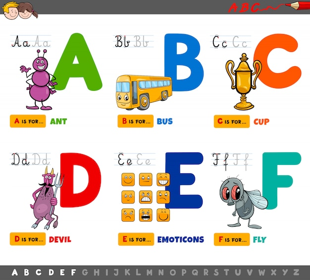 Letras do alfabeto educacional dos desenhos animados para crianças