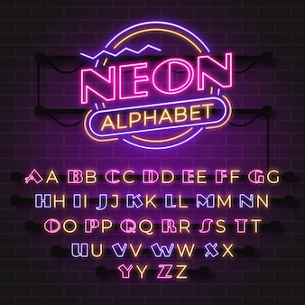 Letras do alfabeto em néon brilhante