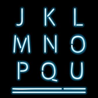 Letras do alfabeto em tubo de néon