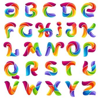 Letras do alfabeto engraçadas formadas por linhas torcidas.