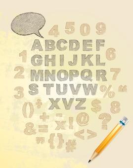 Letras do alfabeto escrito