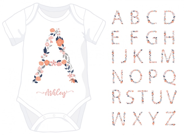 Letras do alfabeto feitas de elementos florais para macacão de bebê menina