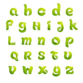 Letras do alfabeto inglês de ecologia com folhas e espaço negativo. estilo da fonte, elementos de modelo de design.