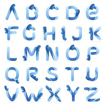 Letras do alfabeto inglês de ecologia com ondas de água e gotas.