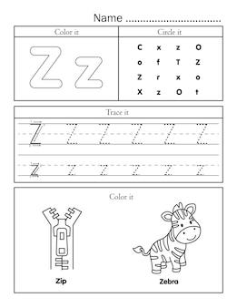 Letras do alfabeto inglês traçando uma planilha para impressão de linhas com uma imagem bonita para colorir