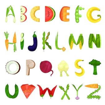 Letras do alfabeto inglês vegetariano feitas de legumes frescos, ilustração em um fundo branco