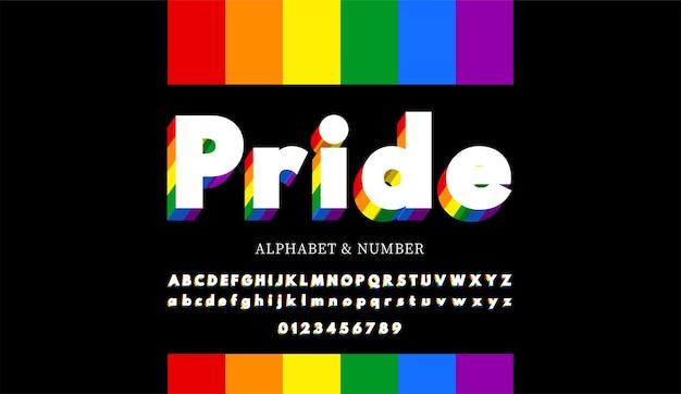 Letras do alfabeto moderno e números com cores do arco-íris. a bandeira do arco-íris colore a fonte lgbt.